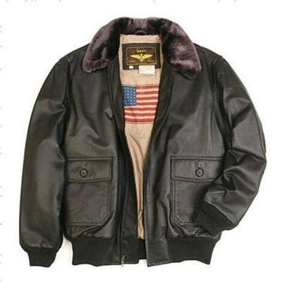 Luxury Lane男士真皮皮衣 二战经典G1海军 飞行夹克 可脱卸毛领 外套