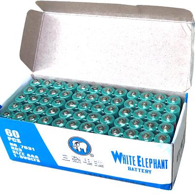 白象電池5號60節普通五號1.5v電池碳性干電池玩具遙控器鼠標專用
