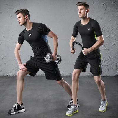 男士運動套裝男健身套裝速干衣T恤短袖短褲健身房跑步運動服休閑服透氣兩件套2020春夏季新品