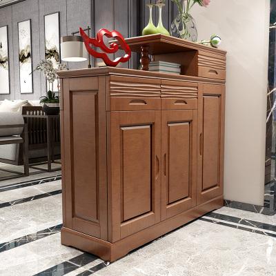 青木川 实木门厅柜 鞋柜玄关柜一体两面 1.2米双面开门口大容量多功能 客厅木质储物玄关隔断柜 简约现代中式