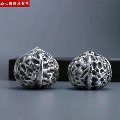 純銀核桃999足銀核桃實心銀擺件 銀器文玩把件禮品 足銀核桃 足銀999(101克/一對)
