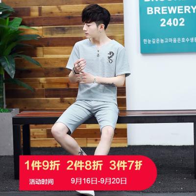 X-MAN中國風2020夏季新款棉麻短袖套裝T恤男 青年五分褲棉麻套裝男6601