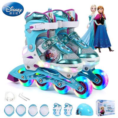 Disney 迪士尼儿童套装 溜冰鞋 亚克力直排 LED灯 轮滑鞋 全闪光轮可调男女小孩 滑冰鞋 旱冰鞋