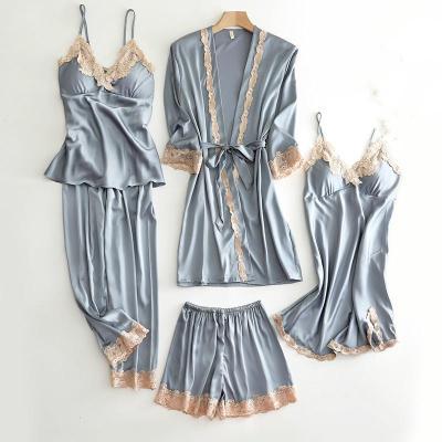 女生夏天睡衣春秋睡衣女性感五件套裝絲綢薄款睡裙夏天冰絲女士睡袍帶胸墊夏季