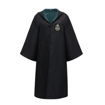 【蘇寧優選】哈利波特魔法袍萬圣節套裝周邊格蘭服飾cosplay服裝斗篷披風魔杖 斯萊特來魔法袍(綠色) 童款125