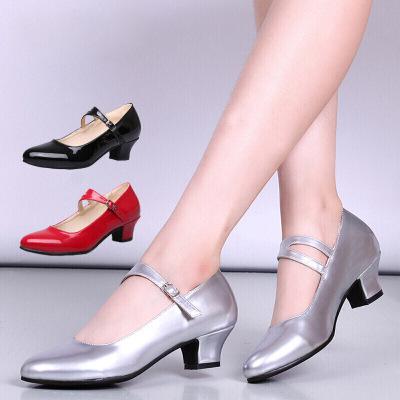舞蹈鞋 中低跟跳舞鞋中老年廣場舞鞋拉丁舞鞋子淺口單鞋1