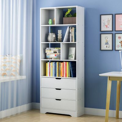 眾淘家居書柜書架子木簡易書柜兒童收納置物架臥室柜子木仿實木書柜子