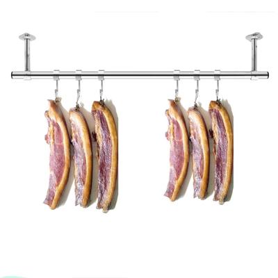 定制陽臺固定式晾衣桿25加厚不銹鋼掛衣桿曬衣架單桿墻吊頂裝 拼接2.4米+30cm高(3座送風勾)