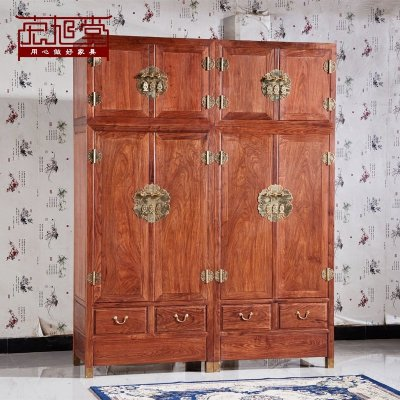 HOTBEE高档红木顶箱柜中式古典实木家具刺猬紫檀花梨木卧室大衣柜组合