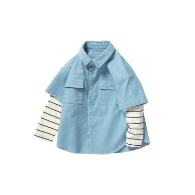 迷你巴拉巴拉兒童長袖襯衫男童2020年秋裝新款寶寶學院風復古襯衫
