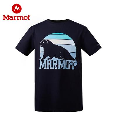 Marmot/土撥鼠新款戶外男士純棉吸汗半袖彈力輕量透氣T恤