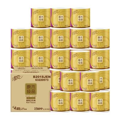 清风 卷纸 原木纯品金装4层180克*27卷卷筒卫生纸巾厕纸手纸家庭装(整箱销售)