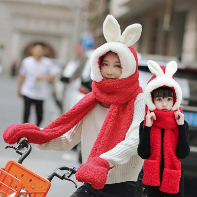 热卖亲子款秋冬季儿童围巾手套帽子三件套毛绒套装一体加厚围巾女长款