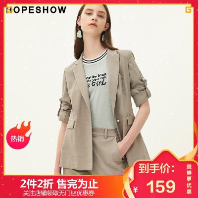红袖秋季新款女装韩版格纹一粒扣小西服七分袖小西装外套女