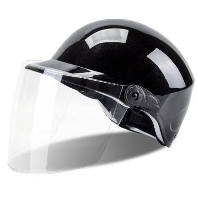 電動摩托車頭盔男電瓶車女士夏季四季輕便保暖冬季防曬可愛安全帽 杏色輕薄款亮黑透明 均碼