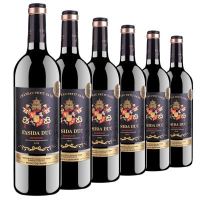 【六瓶紅酒】法國原瓶進口法斯達公爵AOC級別波爾多法定產區紅酒15度750ml*6瓶干紅葡萄酒