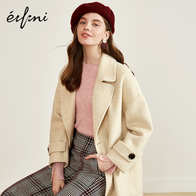伊芙麗新款氣質顯瘦羊毛呢大衣中長款百搭毛呢外套118B972191