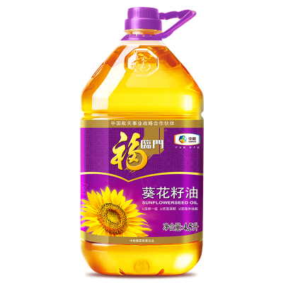 中糧福臨門壓榨一級葵花籽油4.5L/桶脫殼壓榨充氮保鮮食用油