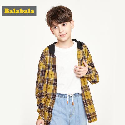 巴拉巴拉男童衬衫长袖秋装2019新款童装儿童格子衬衣格纹连帽上衣