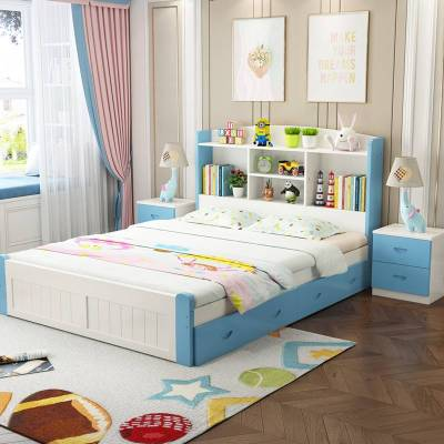 实木床带书架儿童床男孩女孩1.2米多功能公主床经济型1.5米单人床