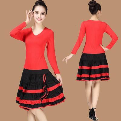 因樂思(YINLESI)秋季廣場舞服裝新款長袖上衣短裙大擺裙套裝演出服兩件套套裝