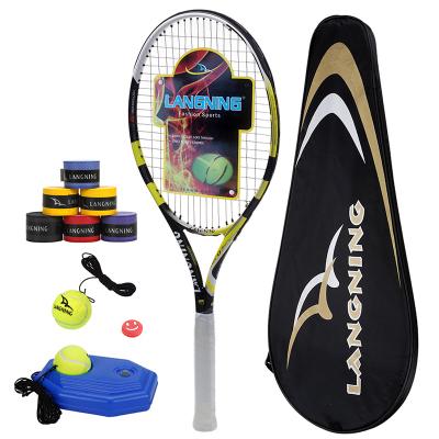 朗宁全碳素一体网球拍 碳复合男女初学者单人训练套装