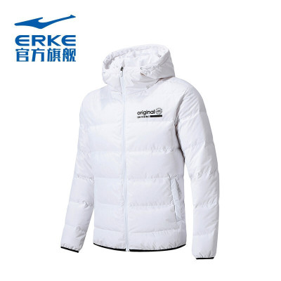 鸿星尔克新款男子羽绒夹克外套时尚修身保暖防风羽绒上衣