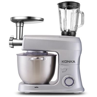 康佳(KONKA)KM-902厨师机家用和面机多功能揉面机搅拌机打蛋器料理机电子式旋钮式 闪亮银五合一