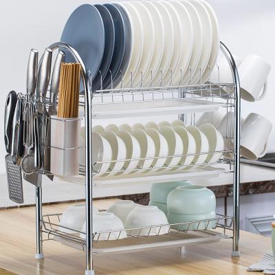 雙層碗架瀝水架家用晾洗放碗碟盤筷子收納架廚房置物架多層蔬菜籃 【加厚】三層+筷筒+掛杯架+3白盤配刀架和4個掛鉤