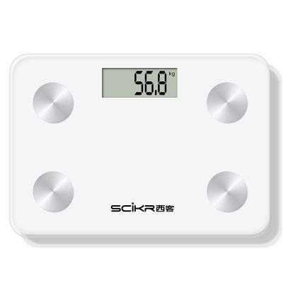 西客 (SCiKR) 體脂秤 健康秤 智能電子秤 藍牙脂肪秤 精準稱重 體重秤 人體秤 APP同步 白色