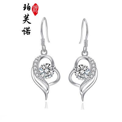 珀芙諾(Pofunuo)s925純銀耳環女長款氣質韓國2019新款潮耳墜高級感網紅法式耳飾