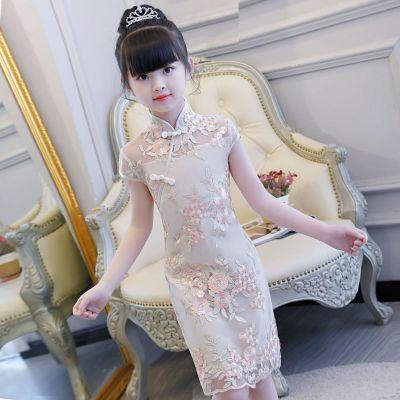 兒童公主裙女童旗袍夏季連衣裙小女孩中國風童裝寶寶旗袍兒童女夏 莎丞