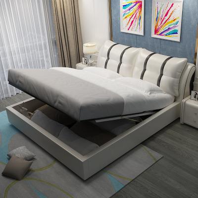 航竹坊 北歐現代簡約主臥網紅床榻榻米真皮1.8米1.5m雙人床軟包床皮藝床