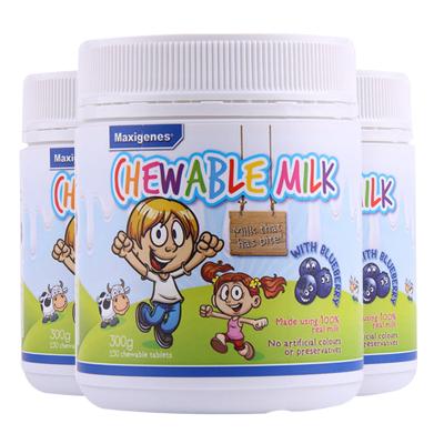 (3瓶裝)【澳洲直郵】Maxigenes美可卓藍胖子天然藍莓護眼牛奶咀嚼片片劑600