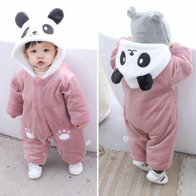 搭啵兔婴儿连体衣加厚加绒衣服半岁男宝宝秋冬装3-9个月女外出哈衣