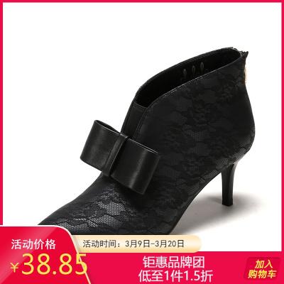 SHOEBOX/鞋柜女靴 冬英倫風短靴女士馬丁靴尖頭細高跟裸靴