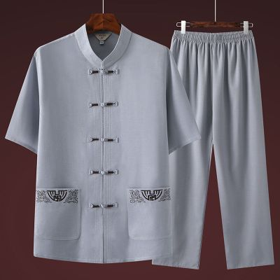 【精品好貨】夏季短袖唐裝男休閑套裝中老年中國風男裝爸爸寬松漢服爺爺太極服