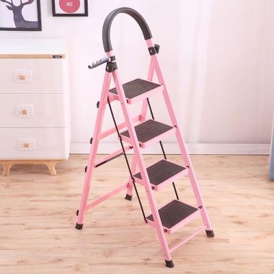 梯子室内人字梯家用折叠四五六步加厚伸缩多功能移动扶梯踏板爬梯 加厚碳钢六步红