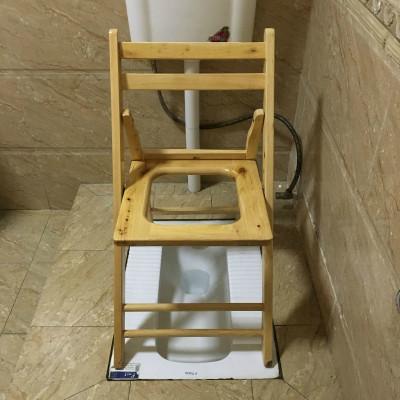 實木老人CIAA孕婦大便上廁所坐便椅可折疊坐便器家用木質蹲凳子 折疊坐便椅40高(送普通絨套+腳墊