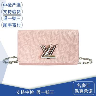 【正品二手99新】路易威登(LV)N63032 女士 粉色 水波紋 TWIST 單肩 斜挎包 牛皮 全套含票