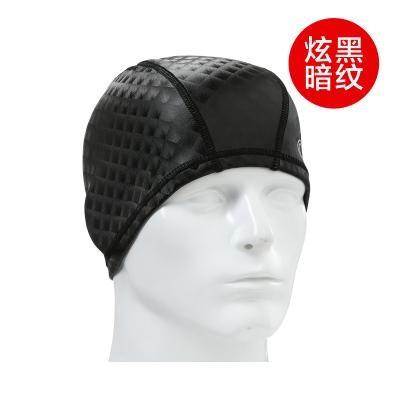 OOK暗紋黑PU涂層時尚防水高彈不勒頭泳帽男女