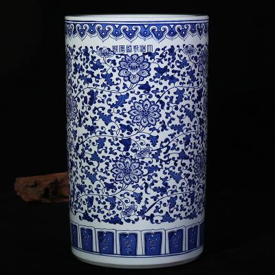 古笙記 景德鎮陶瓷花瓶青花瓷箭筒書畫筒纏枝蓮山水現代家居客廳古典擺件