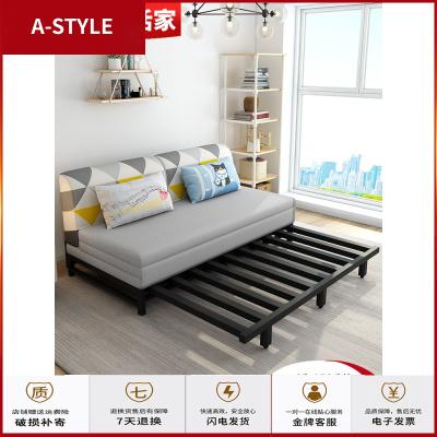 蘇寧放心購沙發床兩用小戶型客廳多功能單雙人1.5米實木簡約折疊沙發床兩用A-STYLE家具
