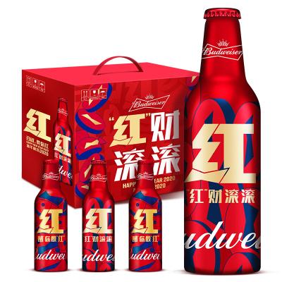 """百威(Budweiser)啤酒紅運禮盒""""紅財滾滾""""355ml*6鋁瓶裝整箱啤酒"""