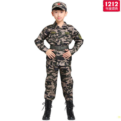 因樂思(YINLESI)2020新款兒童迷彩套裝男童衣服訓作服獵人服裝小孩警童當兵演出