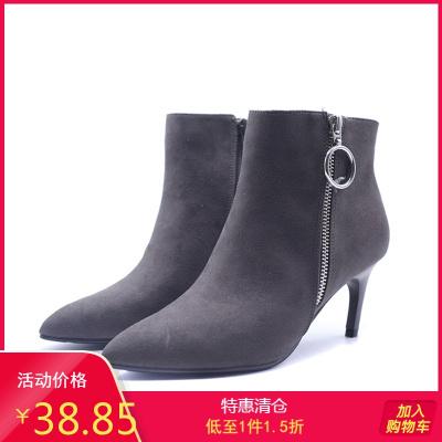 SHOEBOX/鞋柜女靴子 秋冬高跟尖頭時裝側拉鏈女短靴
