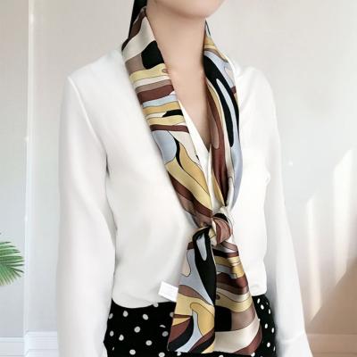 秋冬仿真絲長條小絲巾女夏季細窄領巾職業西裝白襯衫裝飾圍巾飄帶