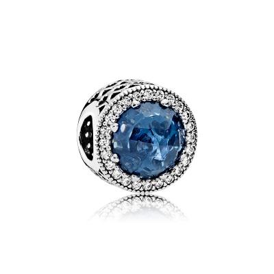 PANDORA潘多拉 深藍色 醉人月夜 閃耀的心 貓眼石925銀串飾 791725NMB