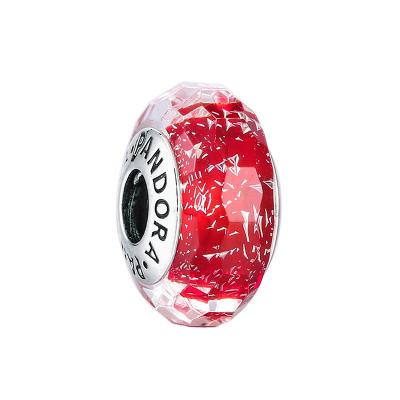 PANDORA潘多拉 红色闪烁琉璃 925银切割面串饰-791654