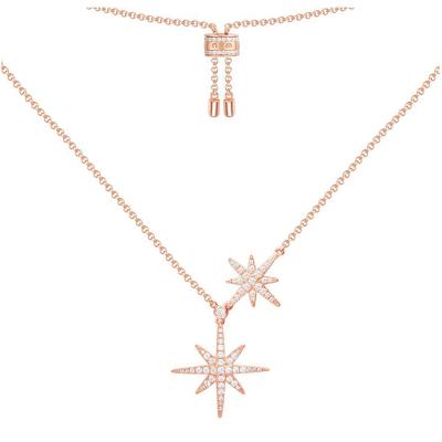 【apm MONACO】气质双流星大小星星毛衣链时尚银925银项链女士时尚吊坠锁骨颈饰送女友